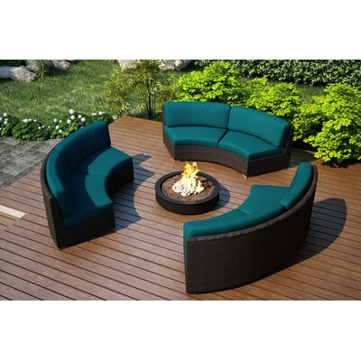 Arden 3 Piece Curved Deep Seating Group with Cushions Fabric: Spectrum Peacock