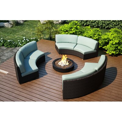 Arden 3 Piece Curved Deep Seating Group with Cushions Fabric: Canvas Spa