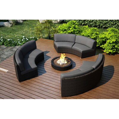 Arden 3 Piece Curved Deep Seating Group with Cushions Fabric: Canvas Charcoal