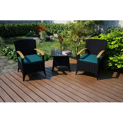 Garlyn 3 Piece Chat Set with Cushions Fabric: Spectrum Peacock