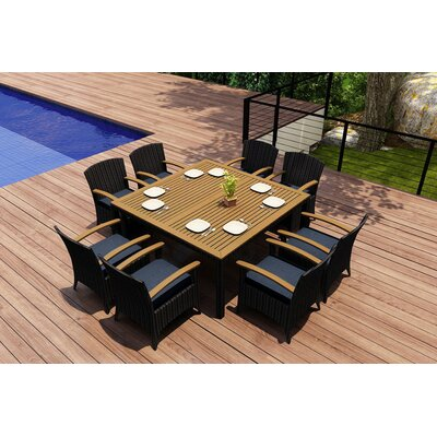 Garlyn 9 Piece Wicker Dining Set with Cushions Fabric: Spectrum Indigo