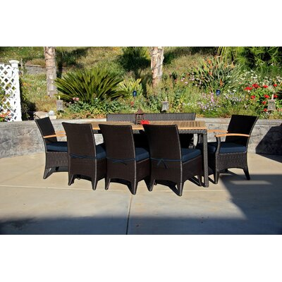 Garlyn 7 Piece Dining Set with Cushion Fabric: Spectrum Indigo