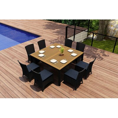 Garlyn 9 Piece Dining Set with Cushion Fabric: Spectrum Indigo