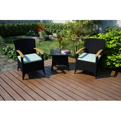 Garlyn 3 Piece Chat Set with Cushions Fabric: Canvas Spa