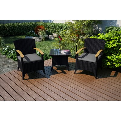 Garlyn 3 Piece Chat Set with Cushions Fabric: Canvas Charcoal