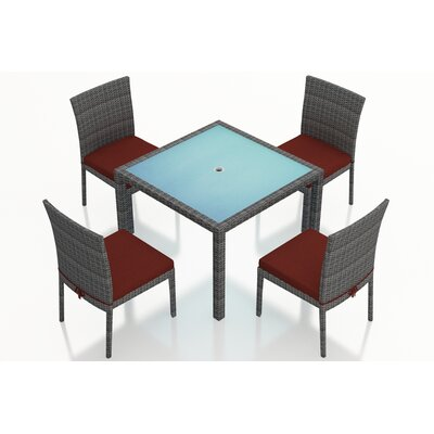 Gerron 5 Piece Dining Set with Cushions Fabric: Canvas Henna