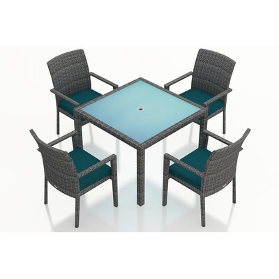 Gerron Contemporary 5 Piece Wicker Dining Set with Cushions Fabric: Spectrum Peacock