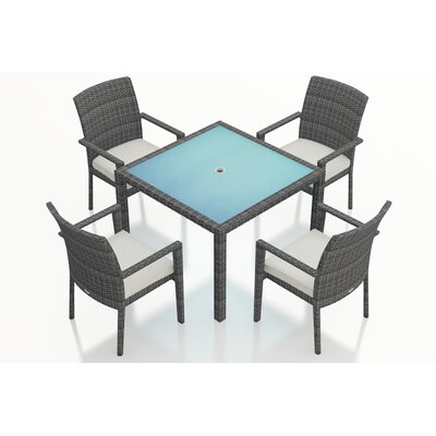 Gerron Contemporary 5 Piece Wicker Dining Set with Cushions Fabric: Canvas Natural