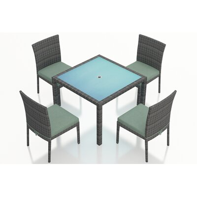 District 5 Piece Dining Set with Cushions Fabric: Canvas Spa