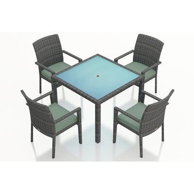 Gerron Contemporary 5 Piece Wicker Dining Set with Cushions Fabric: Canvas Spa