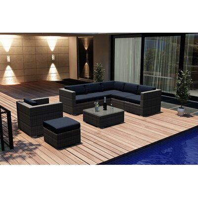 Gerron 8 Piece Deep Seating Group with Cushions Fabric: Spectrum Indigo