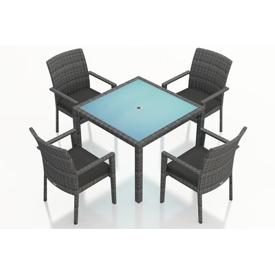 District 5 Piece Dining Set with Cushions Fabric: Canvas Charcoal