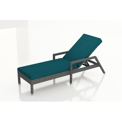 Gerron Chaise Lounge with Cushion Fabric: Spectrum Peacock