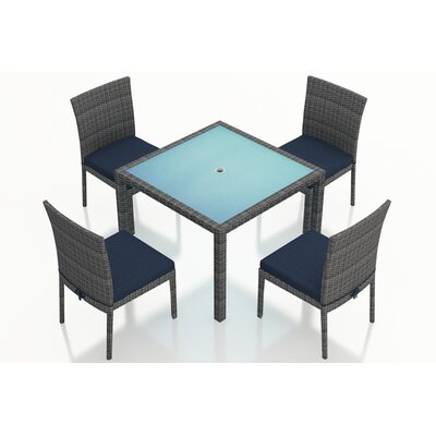Gerron 5 Piece Dining Set with Cushions Fabric: Spectrum Indigo