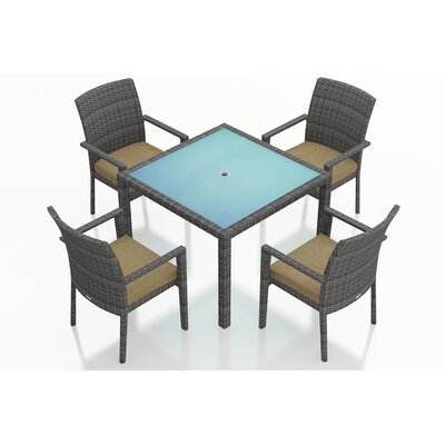 Gerron Contemporary 5 Piece Wicker Dining Set with Cushions Fabric: Heather Beige
