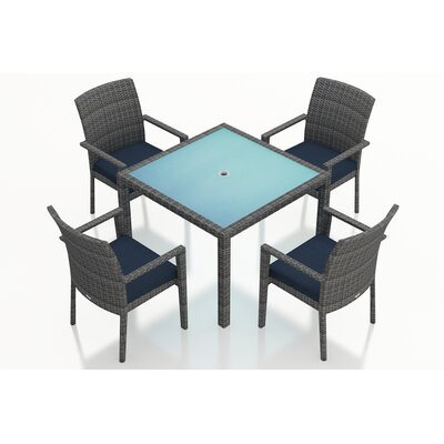 Gerron Contemporary 5 Piece Wicker Dining Set with Cushions Fabric: Spectrum Indigo