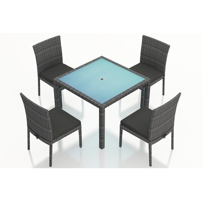 Gerron 5 Piece Dining Set with Cushions Fabric: Canvas Charcoal