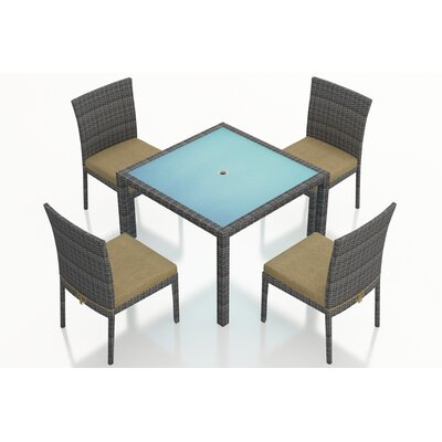 Gerron 5 Piece Dining Set with Cushions Fabric: Heather Beige