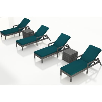 Gerron 6 Piece Chaise Lounge Set with Cushions Fabric: Spectrum Peacock