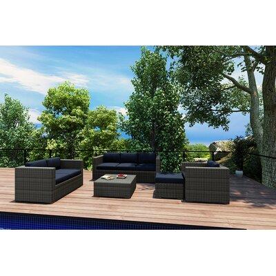 Gerron 5 Piece Wicker Deep Seating Group with Cushions Fabric: Spectrum Indigo