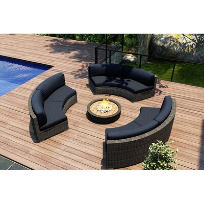 District 3 Piece Curved Deep Seating Group with Cushions Fabric: Spectrum Indigo