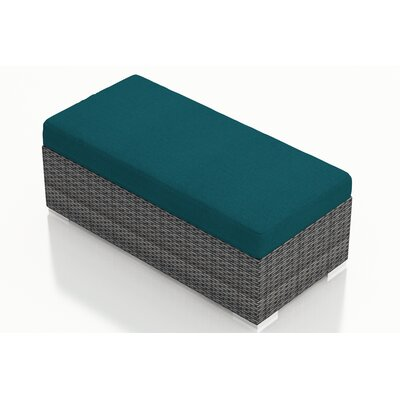 District Double Ottoman with Cushion Fabric: Spectrum Peacock