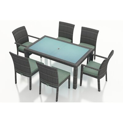 Gerron 7 Piece Dining Set with Cushions Fabric: Canvas Spa