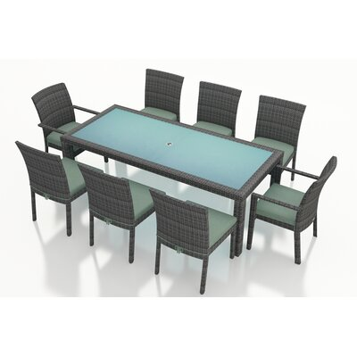 Gerron Contemporary 9 Piece Dining Set with Cushions Fabric: Canvas Spa