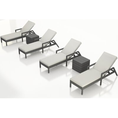 Gerron 6 Piece Chaise Lounge Set with Cushions Fabric: Canvas Natural