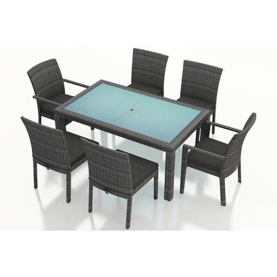 Gerron 7 Piece Dining Set with Cushions Fabric: Canvas Charcoal