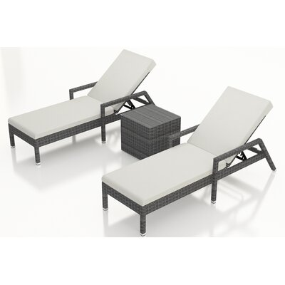 District 3 Piece Chaise Lounge Set with Cushions Fabric: Canvas Natural