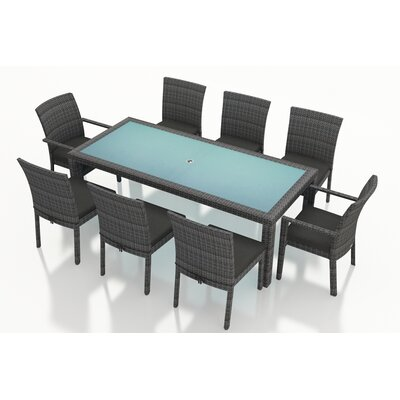 Gerron Contemporary 9 Piece Dining Set with Cushions Fabric: Canvas Charcoal
