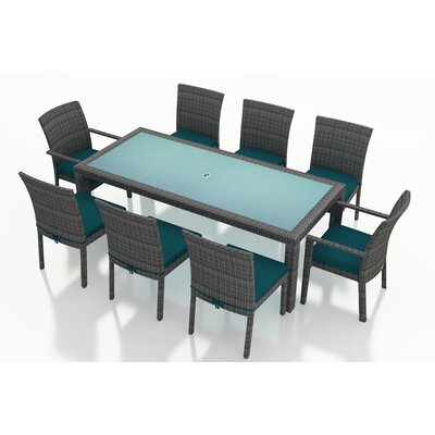 Gerron Contemporary 9 Piece Dining Set with Cushions Fabric: Spectrum Peacock