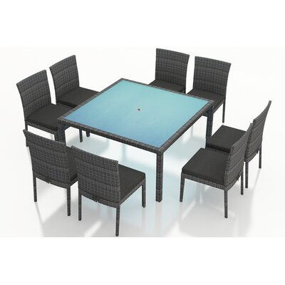 Gerron 9 Piece Dining Set with Cushions Fabric: Canvas Charcoal