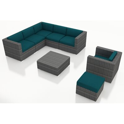 Gerron 8 Piece Deep Seating Group with Cushions Fabric: Spectrum Peacock