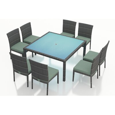 Gerron 9 Piece Dining Set with Cushions Fabric: Canvas Spa