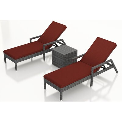 Gerron 3 Piece Chaise Lounge Set with Cushions Fabric: Canvas Henna