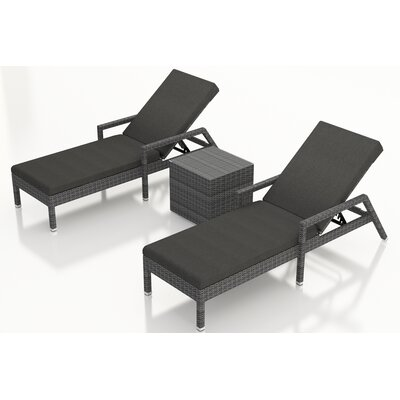 Gerron 3 Piece Chaise Lounge Set with Cushions Fabric: Canvas Charcoal