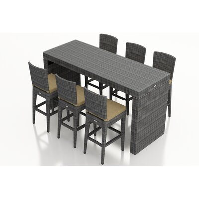 District 7 Piece Bar Set with Cushions Fabric: Heather Beige