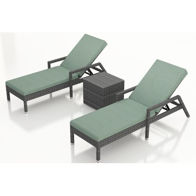Gerron 3 Piece Chaise Lounge Set with Cushions Fabric: Canvas Spa
