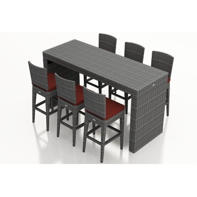 District 7 Piece Bar Set with Cushions Fabric: Canvas Henna