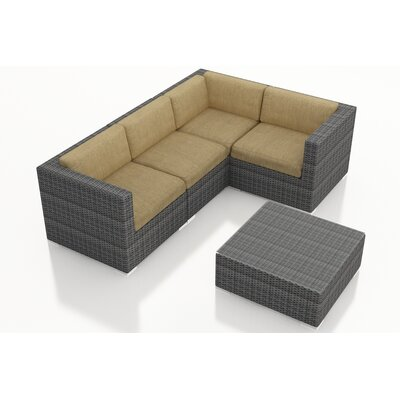 District 5 Piece Deep Seating Group with Cushions Fabric: Heather Beige