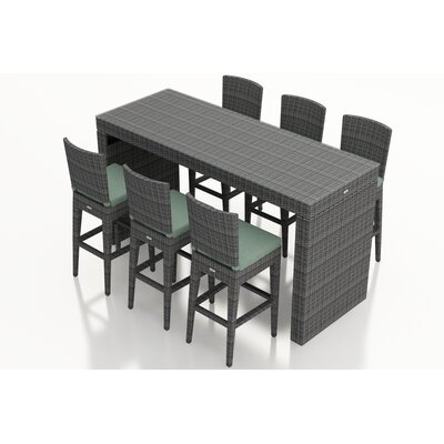 District 7 Piece Bar Set with Cushions Fabric: Canvas Spa