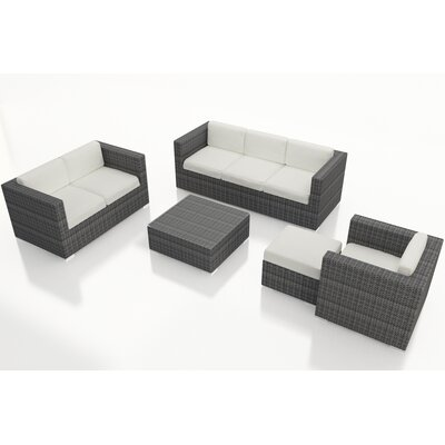 Gerron 5 Piece Wicker Deep Seating Group with Cushions Fabric: Canvas Natural