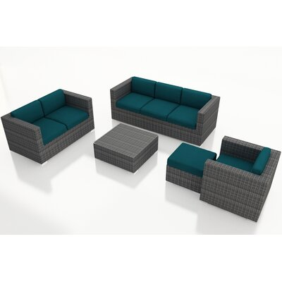 Gerron 5 Piece Wicker Deep Seating Group with Cushions Fabric: Spectrum Peacock