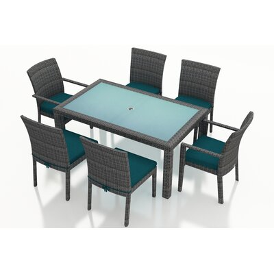 District 7 Piece Dining Set with Cushions Fabric: Spectrum Peacock
