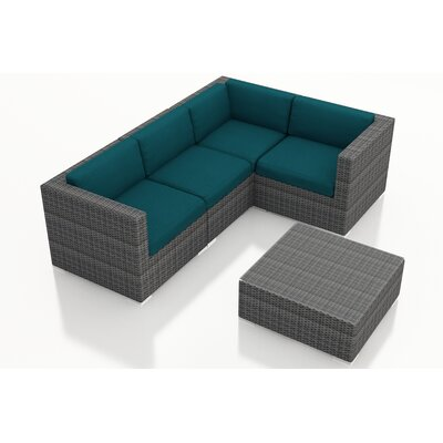 District 5 Piece Deep Seating Group with Cushions Fabric: Spectrum Peacock
