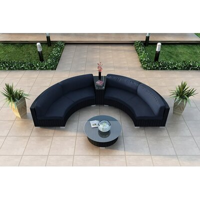 Eichhorn 4 Piece Curved Deep Seating Group with Cushions Fabric: Spectrum Indigo