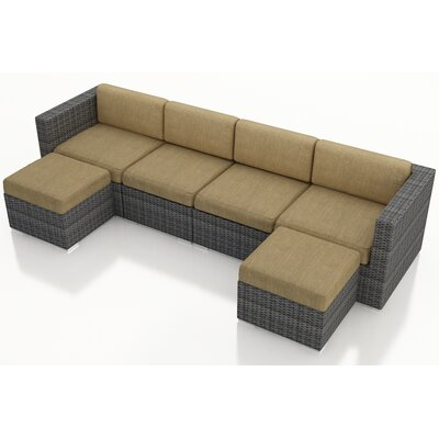 District 6 Piece Deep Seating Group with Cushions Fabric: Heather Beige