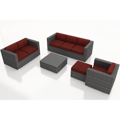 Gerron 5 Piece Wicker Deep Seating Group with Cushions Fabric: Canvas Henna